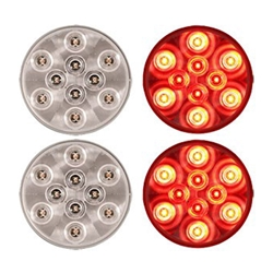 "4"" Round Sealed Clear LED Stop/Turn/Tail Light (10 diodes) Pair"
