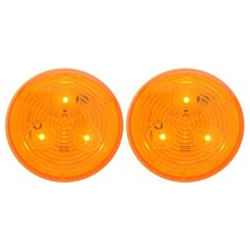 "Amber 2.5"" Round Sealed LED Marker/Clearance Light Pair"