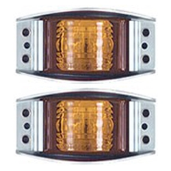 Amber Armored Die Cast LED Marker/Clearance Light Pair