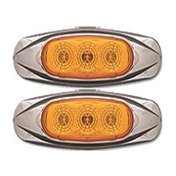 Amber Miro-Flex Mini Star Sealed LED Marker/Clearance Light (3 Diodes) Pair
