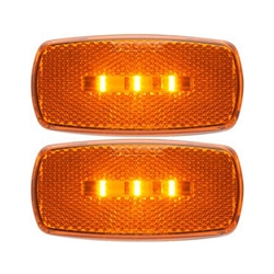 Amber Surface Mount LED Marker/Clearance Lights with Reflex w/White Base Pair