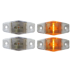 Clear Lens Mini Sealed Amber LED Horizontal-Vertical Marker/Clearance Light Pair