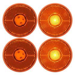 "Amber LED 2.5"" Round Marker/Clearance Light with Reflex Pair"