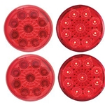 "Red 2"" Miro-Flex Round Sealed LED Marker/Clearance Light Pair"