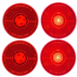 "Red LED 2.5"" Round Marker/Clearance Light with Reflex Pair"