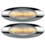 "Clear Lens Millennium Series 6.5"" Sealed LED Marker/Clearance Light Yellow Pair"