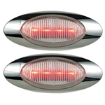 "Clear Lens Millennium Series 6.5"" Sealed LED Marker/Clearance Light Red Pair"