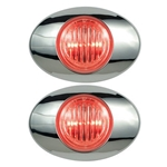 "Clear Lens Millennium Series 3"" Sealed LED Marker/Clearance Light Red Pair"